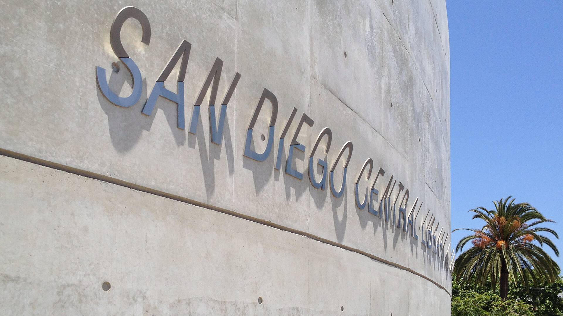 San Diego Central Library signage with custom ornamental detailing.