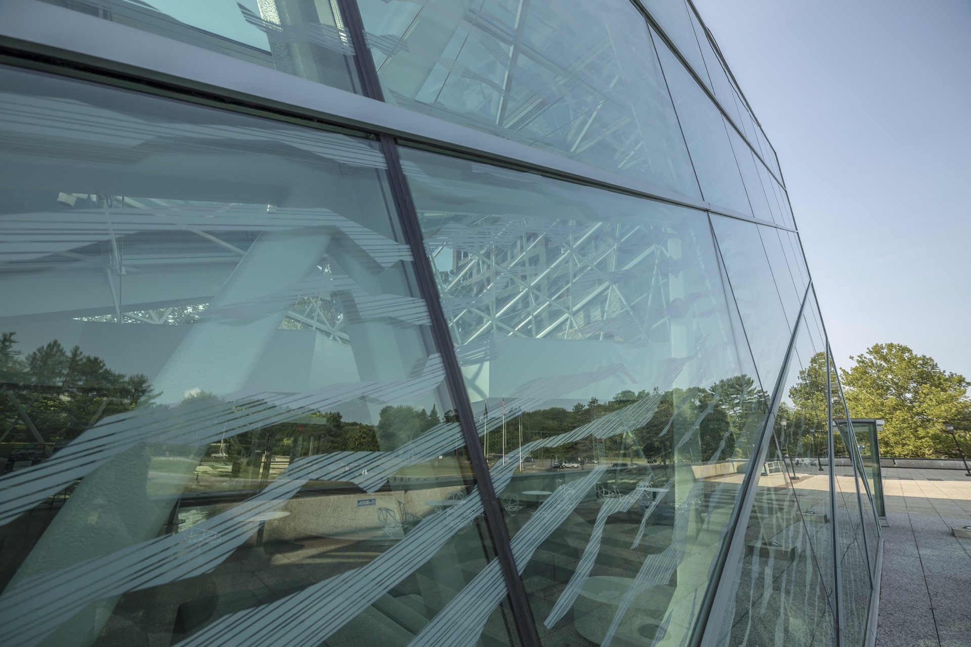 Detail of the exterior glass facade of SUNY New Paltz